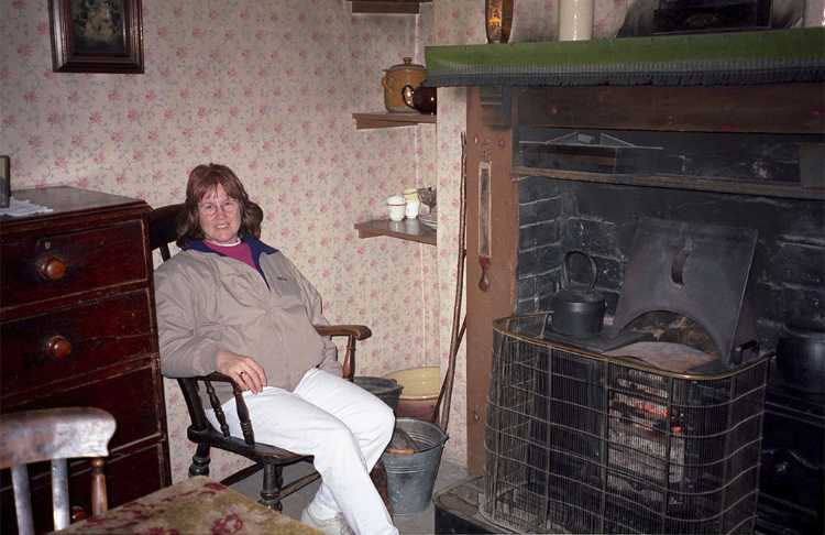 We relaxed by a fireplace in the Forester's Cottage
