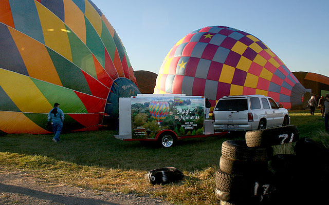 "Most balloons arrive in a small trailer, usually towed by a SUV. ""Magic Moments V"" is piloted by ""Scorch."""