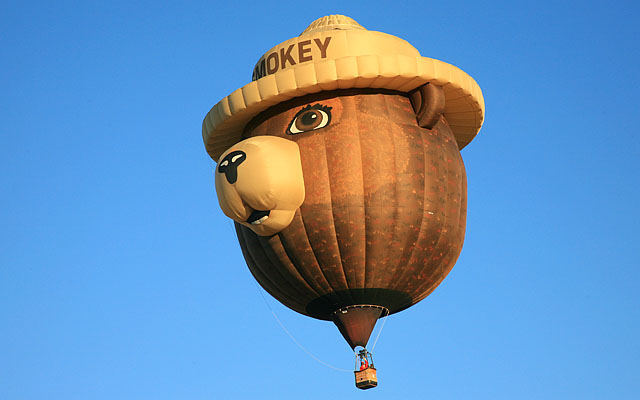 Smokey is up, up, and away.