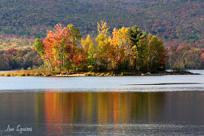 Colorful island in the Chittenden Reservoir