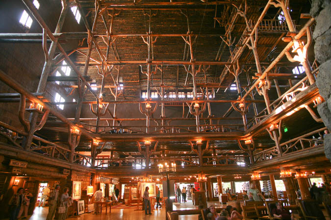 The lobby of the Old Faithful Inn is about 7 stories high (76 feet)
