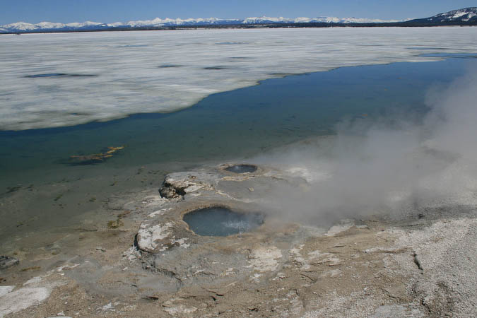 Boiling water, ice, and snow in the West Thumb Geyser Basin